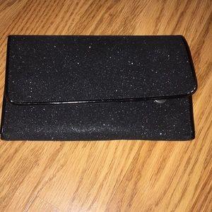 Aldo black sparkly clutch wallet purse evening bag